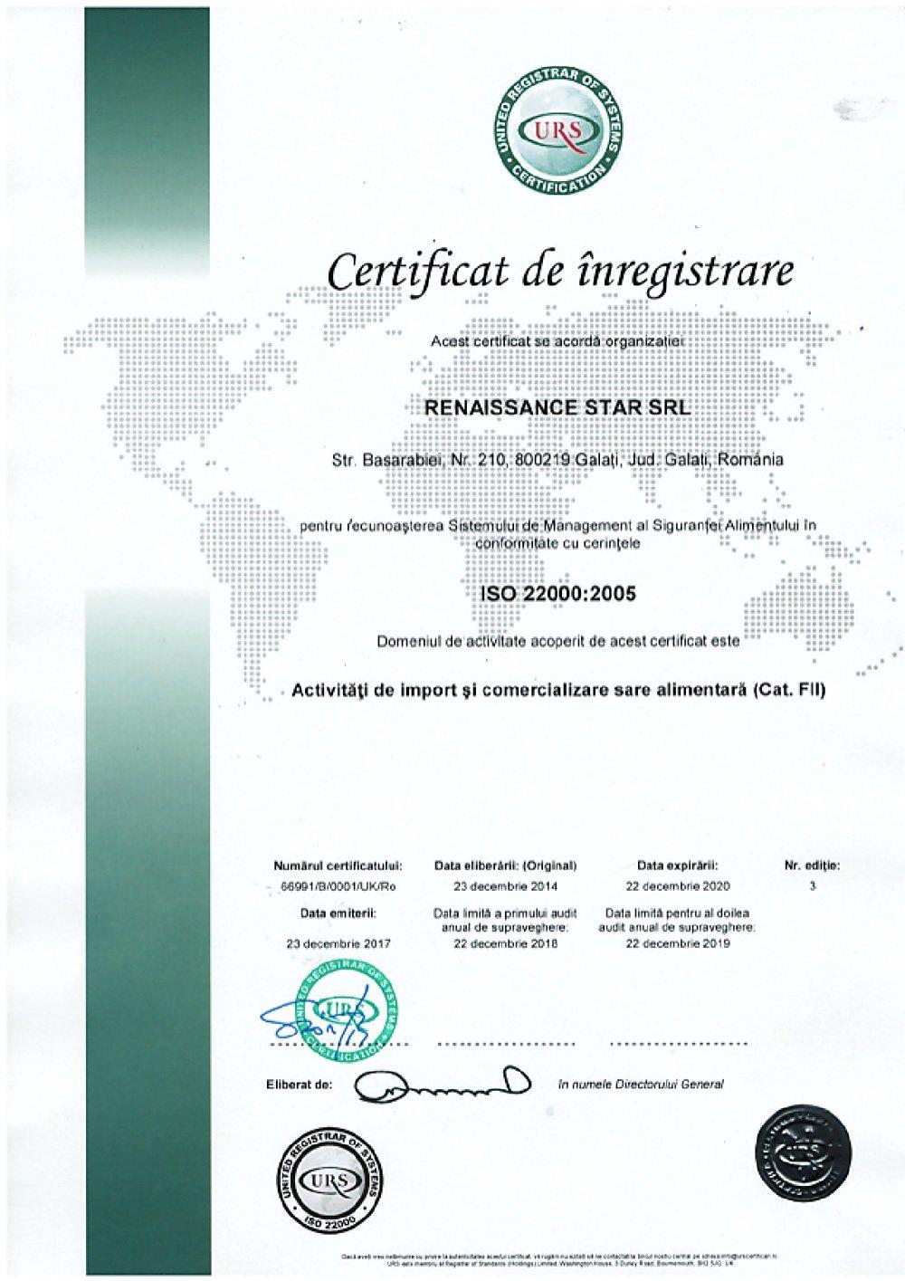 certificare iso 22000 renaissance star
