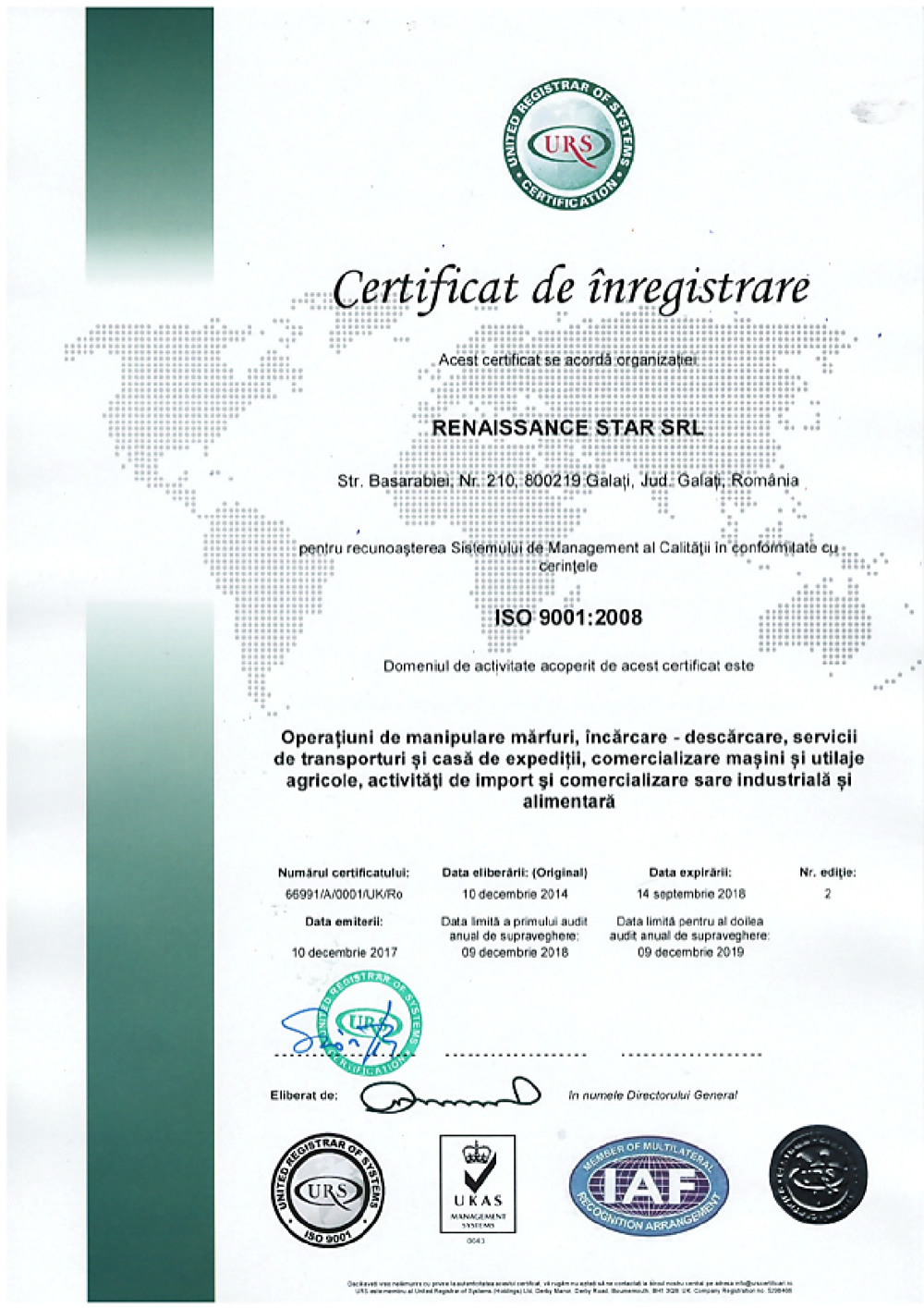 certificare iso 9001 renaissance star